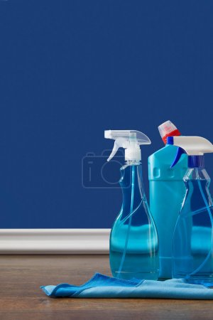spray bottles with antiseptic liquids for spring cleaning