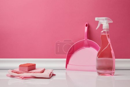 pink rags, sponge and scoop for spring cleaning