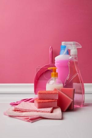 domestic supplies for spring cleaning on pink