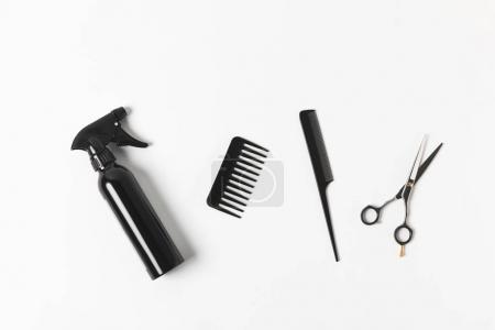 Photo pour Vue du dessus du vaporisateur, peignes et ciseaux, sur blanc - image libre de droit