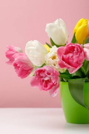 Photo for Tender blooming tulips in vase on pink background - Royalty Free Image