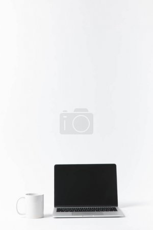 close up view of laptop with blank screen, isolated on white