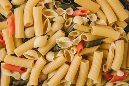 Photo for Top view of various types of raw pasta - Royalty Free Image