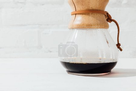 Close up shot of alternative coffee in chemex with filter cone