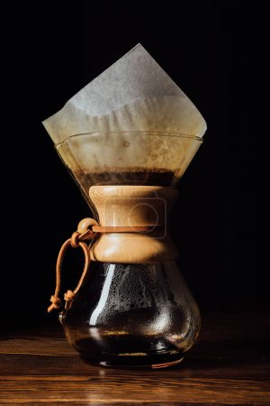 Closeup shot of alternative coffee in chemex with filter cone