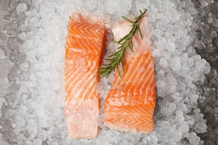 slices of red fish with rosemary branch on crushed ice