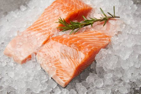 close-up shot of sliced salmon with rosemary branch on crushed ice