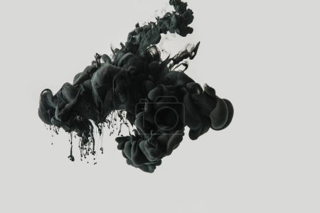 Photo for Close up view of black ink in water isolated on gray - Royalty Free Image
