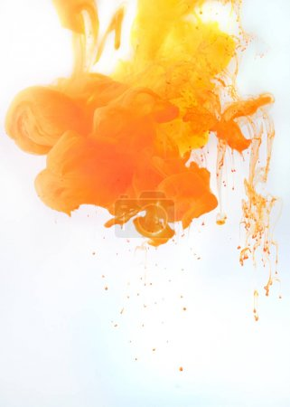 artistic background with flowing orange paint, isolated on white
