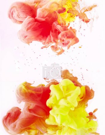 wallpaper with yellow and red paint swirls, isolated on white