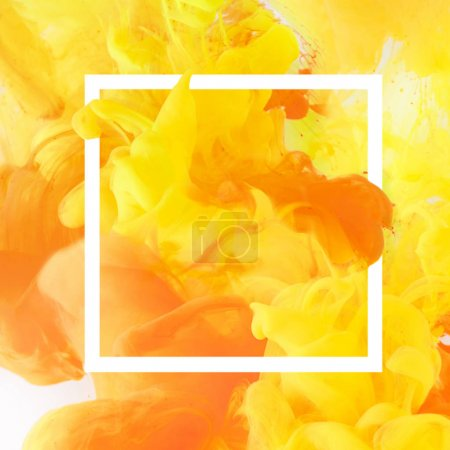 Photo for Creative design with flowing yellow and orange paint in white square frame - Royalty Free Image