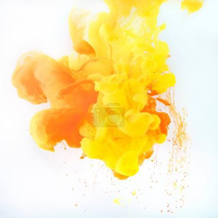 Photo for Design with yellow and orange paint swirls, isolated on white - Royalty Free Image