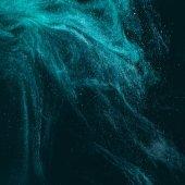 """Постер, картина, фотообои """"Магические художественных текстуры с бирюзовой краской на черном"""""""