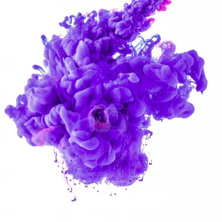 abstract design with flowing purple paint in water, isolated on white