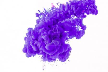 abstract splash with purple paint in water, isolated on white
