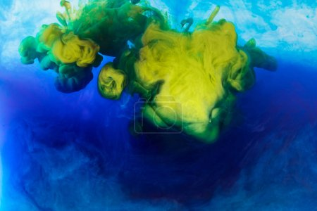Photo for Abstract background with blue and yellow paint mixing in water - Royalty Free Image
