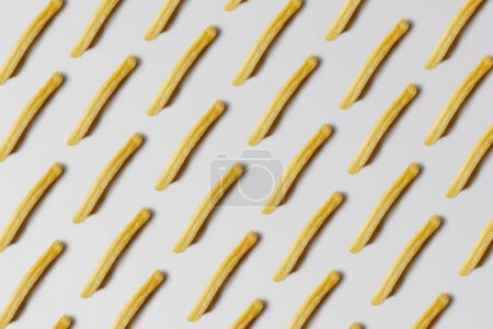 Photo for Top view of french fries seamless pattern on white - Royalty Free Image