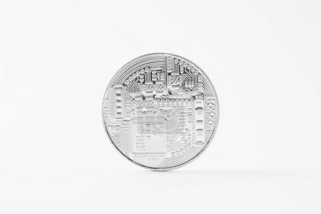 close-up shot of bitcoin isolated on white