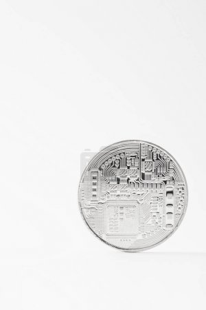 close-up shot of silver bitcoin isolated on white
