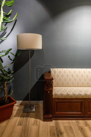 Lamp by vintage style sofa in cozy room