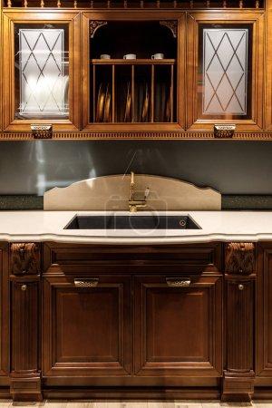 Stylish kitchen with elegant vintage style sink