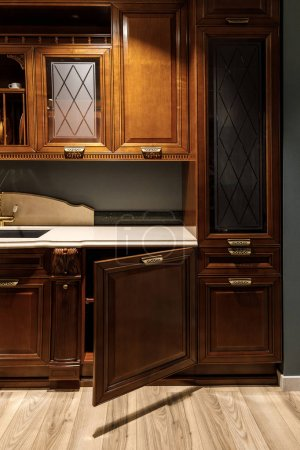 Interior of kitchen with stylish design with vintage style cabinets