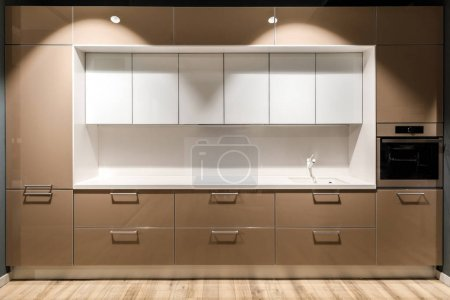Photo for Interior of modern kitchen with stylish design in brown and white colors - Royalty Free Image