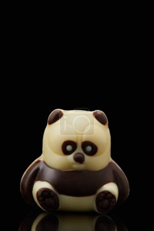 Photo for Closeup shot of panda shaped chocolate on black background - Royalty Free Image