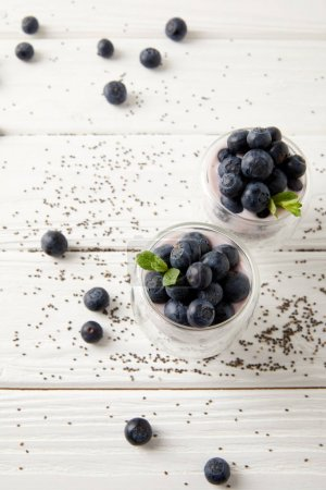 close up view of chia puddings with fresh blueberries and mint on white wooden tabletop