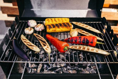 Summer seasonal vegetables grilled for outdoors barbecue