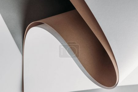 blank white, brown and grey paper sheets, abstract background