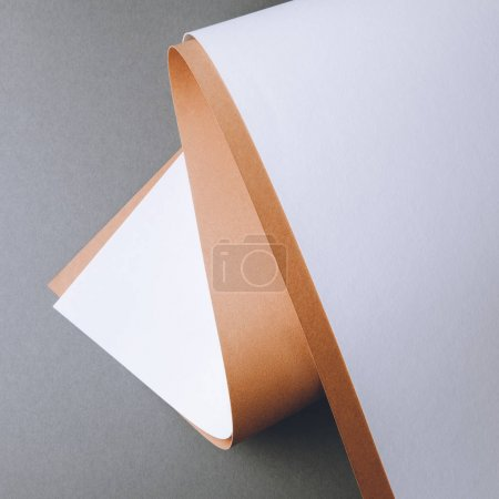 Photo for Empty white and brown paper sheets on grey creative background - Royalty Free Image