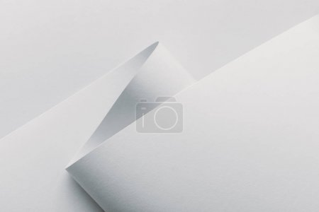 Closeup view of white rolled paper on white background