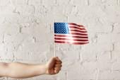 """Постер, картина, фотообои """"обрезанное выстрел мужчина держит американский флагшток против белого кирпича стены"""""""