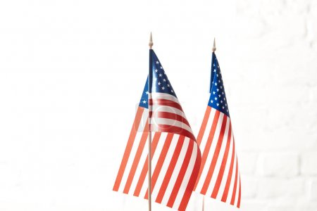 closeup view of united states of america flagpoles
