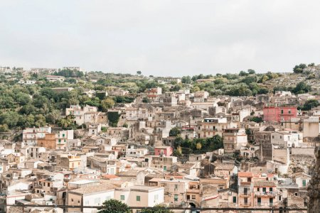 Photo for Sunshine on roofs of old houses in modica, italy - Royalty Free Image