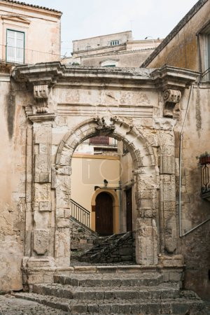 Photo for Ancient arch in old building in modica, italy - Royalty Free Image