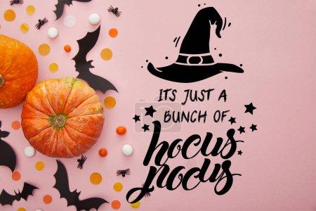 Foto de Vistas superiores de calabaza, murciélagos y confeti sobre fondo rosa con su solo un montón de ilustración de hocus pocus. - Imagen libre de derechos