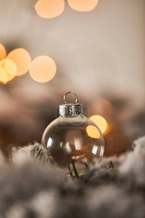 Photo pour Transparent christmas ball on spruce branches in snow with lights bokeh - image libre de droit