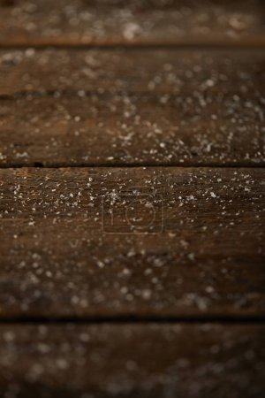 Photo for Christmas background of wooden surface with snow - Royalty Free Image