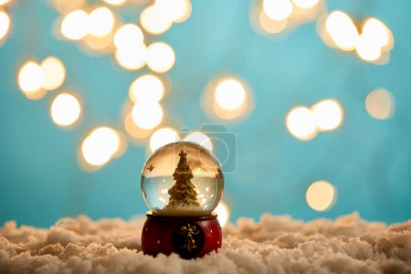 Photo pour Little christmas tree in snowball standing on blue with snow and blurred lights - image libre de droit