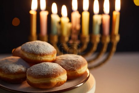 Photo pour Selective focus of delicious doughnuts on stand near glowing candles in menorah on black background with bokeh lights on Hanukkah - image libre de droit