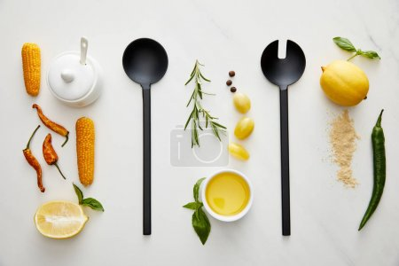Photo for Top view of kitchenware, vegetables and herbs on marble background - Royalty Free Image