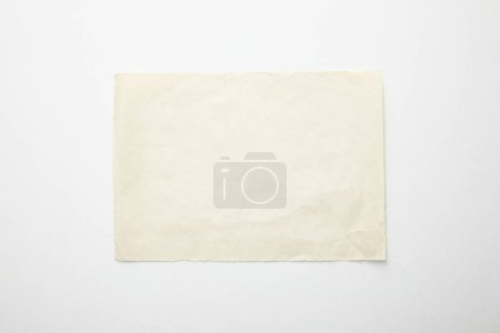 Photo for Top view of empty vintage paper on white background - Royalty Free Image