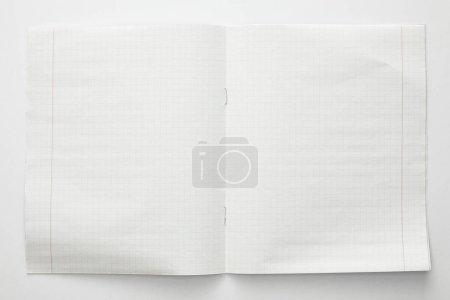 top view of empty paper sheets on white background
