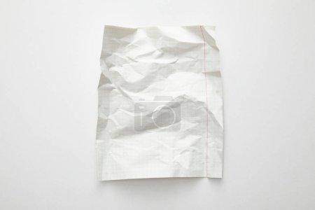 Photo pour Top view of empty crumpled paper on white background - image libre de droit