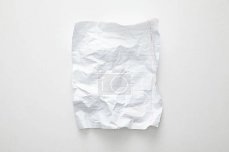 Photo for Top view of empty crumpled paper on white background - Royalty Free Image
