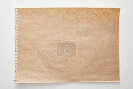 Photo pour Top view of empty craft paper on white background - image libre de droit