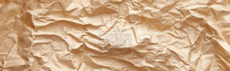 Photo for Top view of empty crumpled craft paper texture, panoramic shot - Royalty Free Image