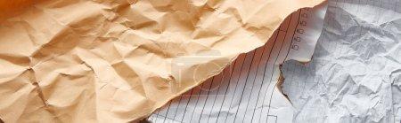 Photo pour Vue de dessus des papiers vintage froissés et brûlés vides, vue panoramique - image libre de droit